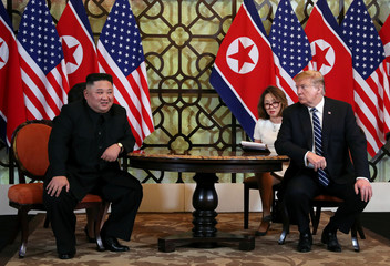U.S. President Donald Trump looks towards North Korean leader Kim Jong Un during the one-on-one bilateral meeting at the second North Korea-U.S. summit in Hanoi