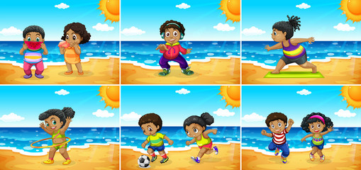 Set of african kids at the beach