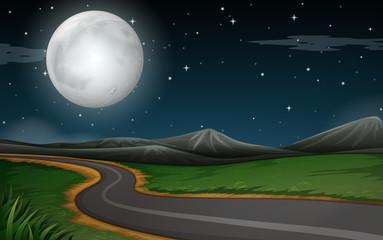 A nature road night scene