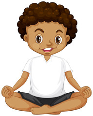 A young boy meditation