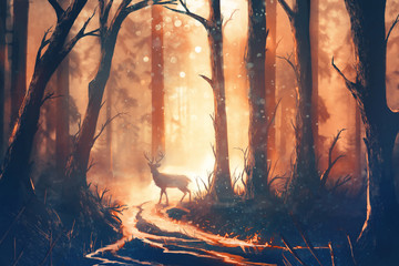 Illustration of a deer in warm forest