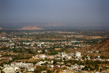 Indian Cities of different sizes cover earth's surface to horizon