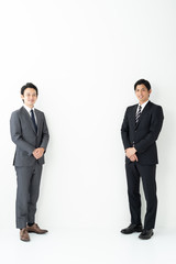 portrait of two asian businessman on white background