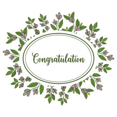 Vector illustration design leaf flower frame with greeting congratulation hand drawn