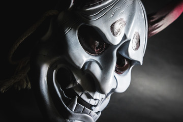 Japanese oni mask or giant mask, used to decorate handmade from original to make it look dark and art