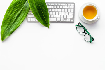 Spring inspiration. Office work desk with computer keyboard, glasses, fresh green spring leaves on white background top view copy space