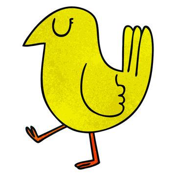quirky hand drawn cartoon yellow bird
