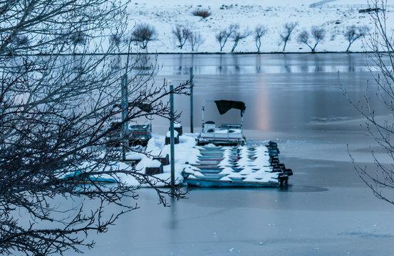 Frozen Boats In a Lake