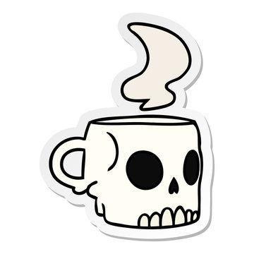 sticker cartoon doodle of a skull mug
