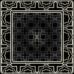Design Print For Kerchief. The Pattern Of Geometric Ornament. Vector Illustration. The Idea For Design Prints For Neck Scarves, Carpets, Bandanas. Black silver color