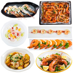 Collection of dishes of shrimps