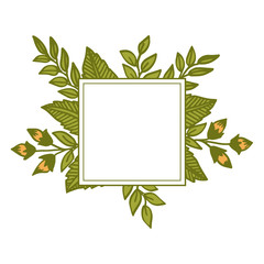 Vector illustration leaf floral frame for card hand drawn