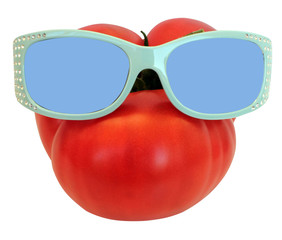 image of a red big tomato, wearing sunglasses, good summer crop farming concept, isolated  on white background