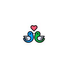 two bird with love logo design vector