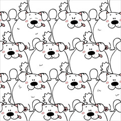 Vector seamless pattern with hand-drawn funny cute fat animals. Silhouettes of animals on a white background. Fun texture with dogs. Design concept for children print