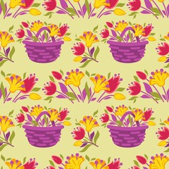 Vector background seamless pattern with spring tulip