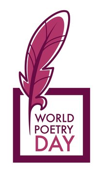 Writers and poetry day isolated icon feather and book vector bookstore or library emblems and logo literature holiday