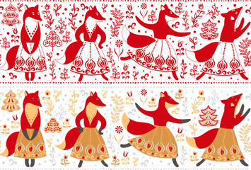 Seamless decorative border to the dancing foxes in skirts, trees and flowers.