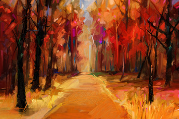 Printed roller blinds Brick Oil painting colorful autumn trees. Semi abstract image of forest, aspen trees with yellow - red leaf and lake. Autumn, Fall season nature background. Hand Painted Impressionist, outdoor landscape
