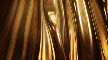 Abstract golden liquid smooth background with waves luxury. 3d illustration