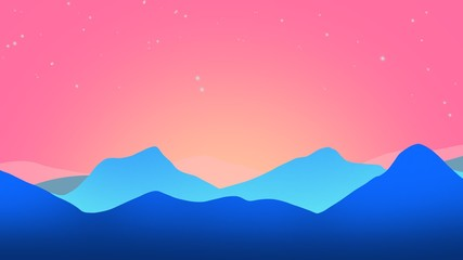 Poster Candy pink Abstract mountain sunset background in the fog