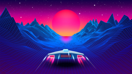 Arcade space ship flying to the sun in blue corridor or canyon landscape with 3D mountains, 80s style synthwave or retrowave scenic view
