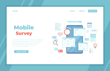 Online Survey Testing Questionnaire. Phone screen with online filling forms and check marks. Vote, checklist, examination, feedback service, customer support. landing page, banner