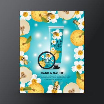 Honey Hand Cream and Lip Balm Packaging Design Skincare and Beauty Template for Ads or Magazine Background. Fruit and Flowers Vector Illustration.
