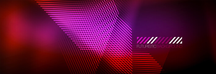 Photo sur Aluminium Art abstrait Neon glowing techno lines, hi-tech futuristic abstract background template with lines