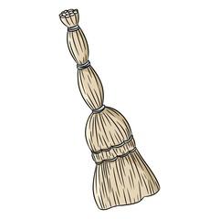 Besom organic broom doodle. Hand drawn vector image