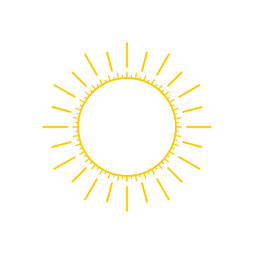 Abstract yellow sun thin line icon with rays, modern art