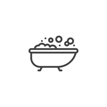Bath with bubbles line icon. linear style sign for mobile concept and web design. Bathtub outline vector icon. Symbol, logo illustration. Pixel perfect vector graphics