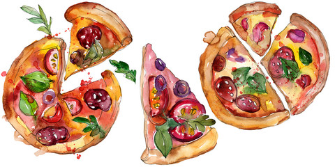 Fast food itallian pizza in a watercolor style set. Aquarelle food illustration for background. Isolated pizza element.