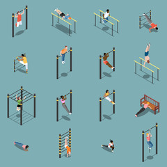 Street Workout Isometric Icons
