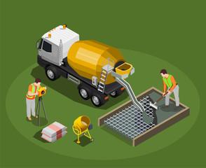 Concrete Production Isometric Composition