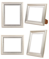 Multiple of Silver Photo Frames ISOLATED on White Background.