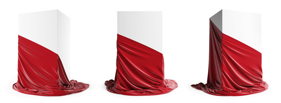 Set of presentation pedestal with a red silk cloth. Isolated on a white background with clipping path.