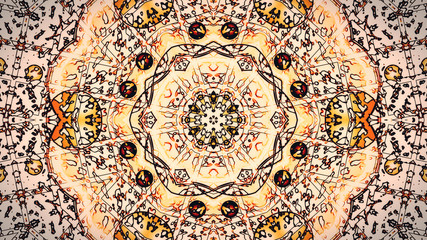 Pastel kaleidoscope sequence patterns. Abstract motion graphics background. Caleidoscope for yoga, clubs, shows, mandala, fractal 3D illustration. Beautiful bright ornament. Seamless loop in 4K.