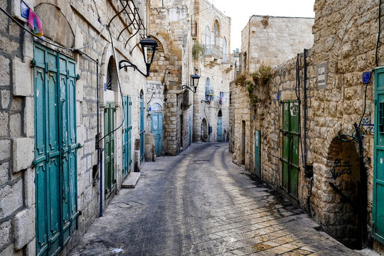 Street in Old City of BETHLEHEM, PALESTINIAN TERRITORIES. September 2015