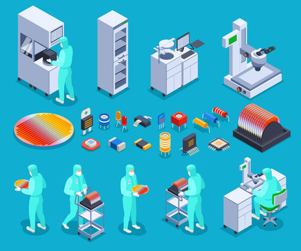 Semicondoctor Production Icons Set