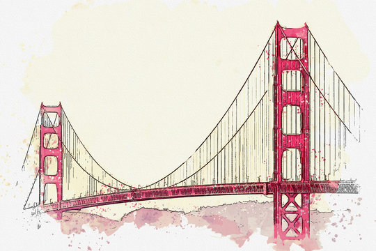 Watercolor sketch or illustration of the beautiful view of the Golden Gate Bridge in San Francisco in America