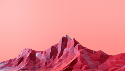 Geometric Mountain Landscape art Low poly with Colorful Red Background- 3d rendering
