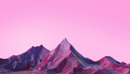 Wall Murals Light pink Mountain Landscape Low poly with Colorful Gradient Psychedelic Purple on Background- 3d rendering