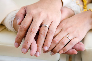 Bride and groom 's hand in wedding day