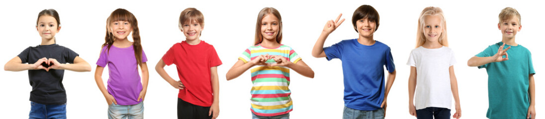 Cute children in different t-shirts on white background