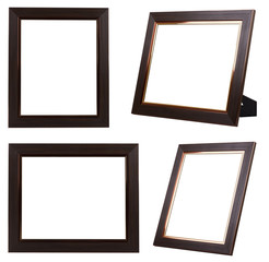 Multiple of Brown Wood Frame ISOLATED on White Background.