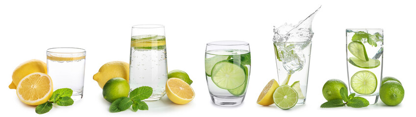 Glasses of infused water with citrus fruits on white background