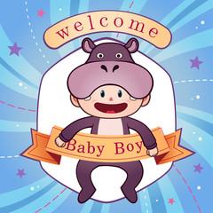 Newborn baby postcard vector illustration.
