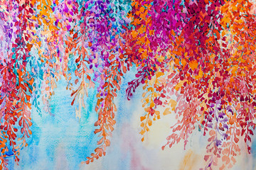 Abstract watercolor original landscape painting imagination colorful of beauty flowers.