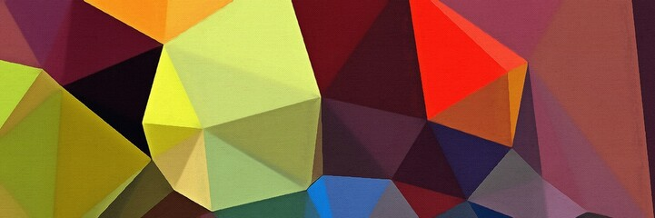 Geometric artistic triangularis background. Multicolor warm and bright polygonal texture drawing on paper. Chaotic mesh geometry.
